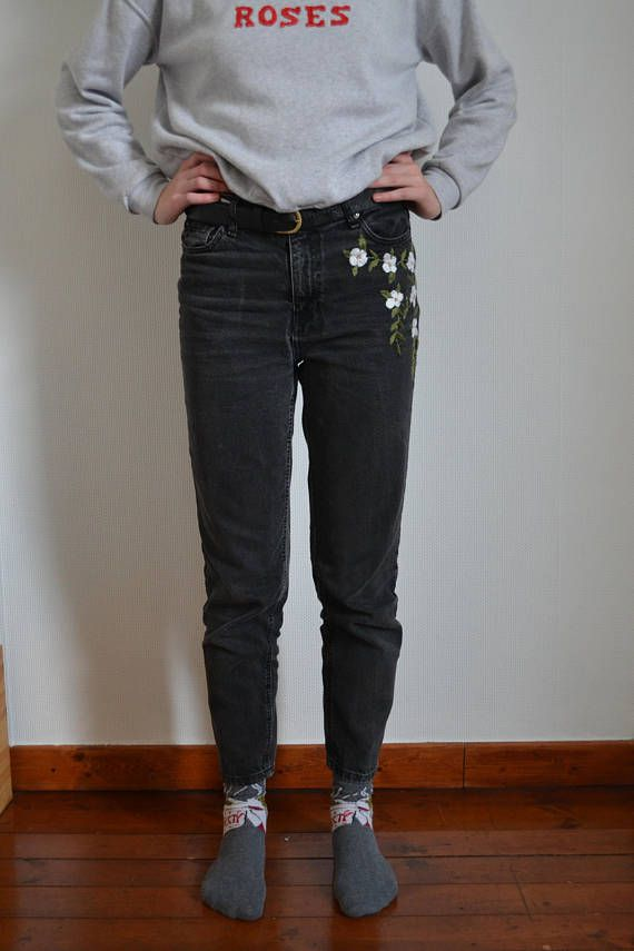 cute flowers jeans white