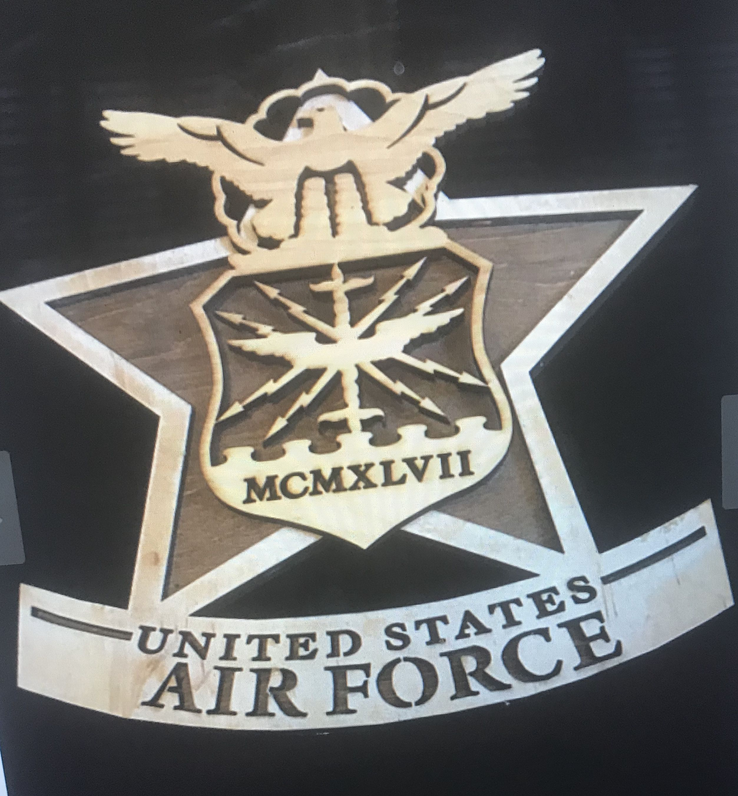 force engraved laser plaque air wood military