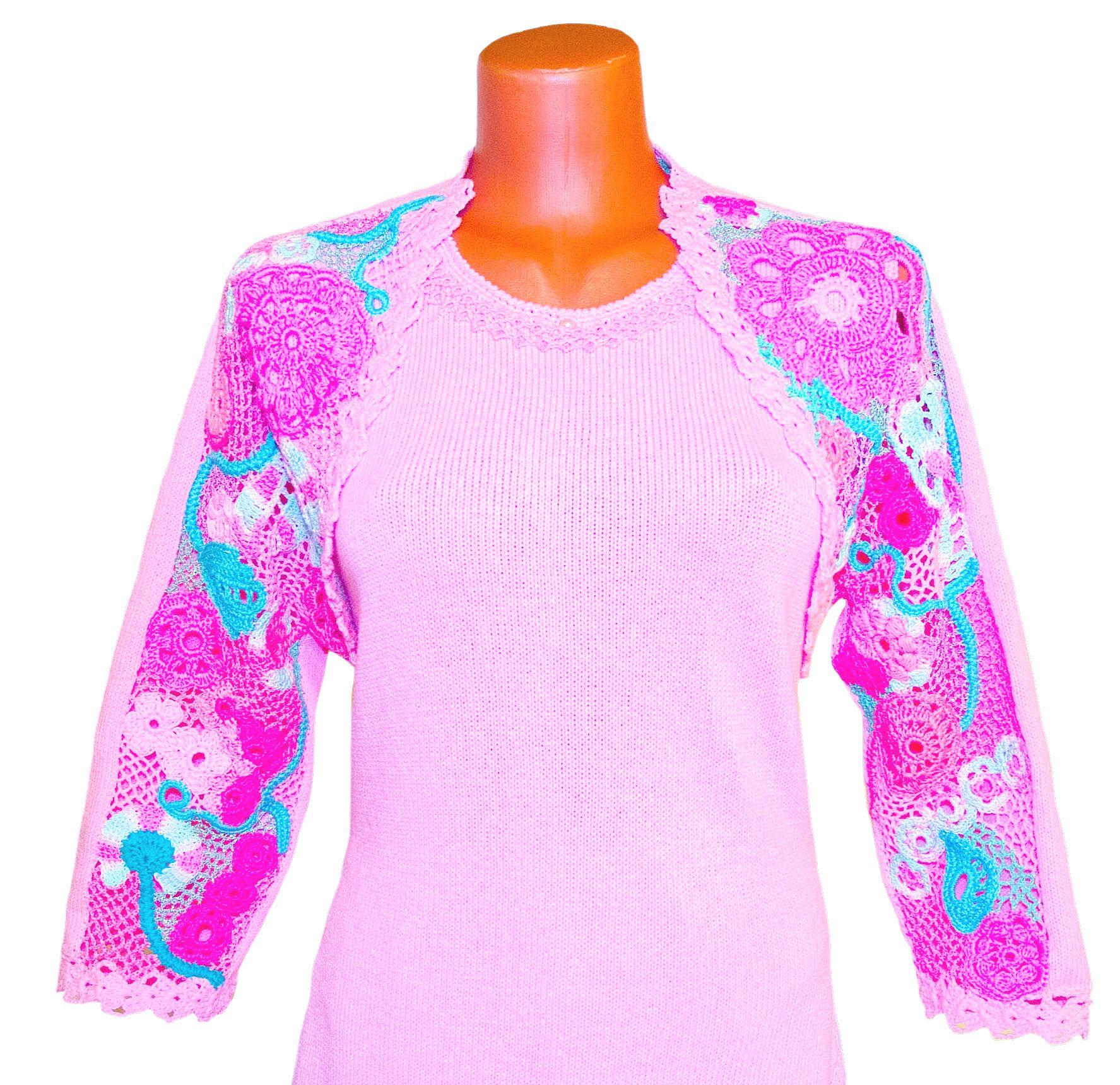 bolero lace irish dree customdesign tatting fancy palepink knitted