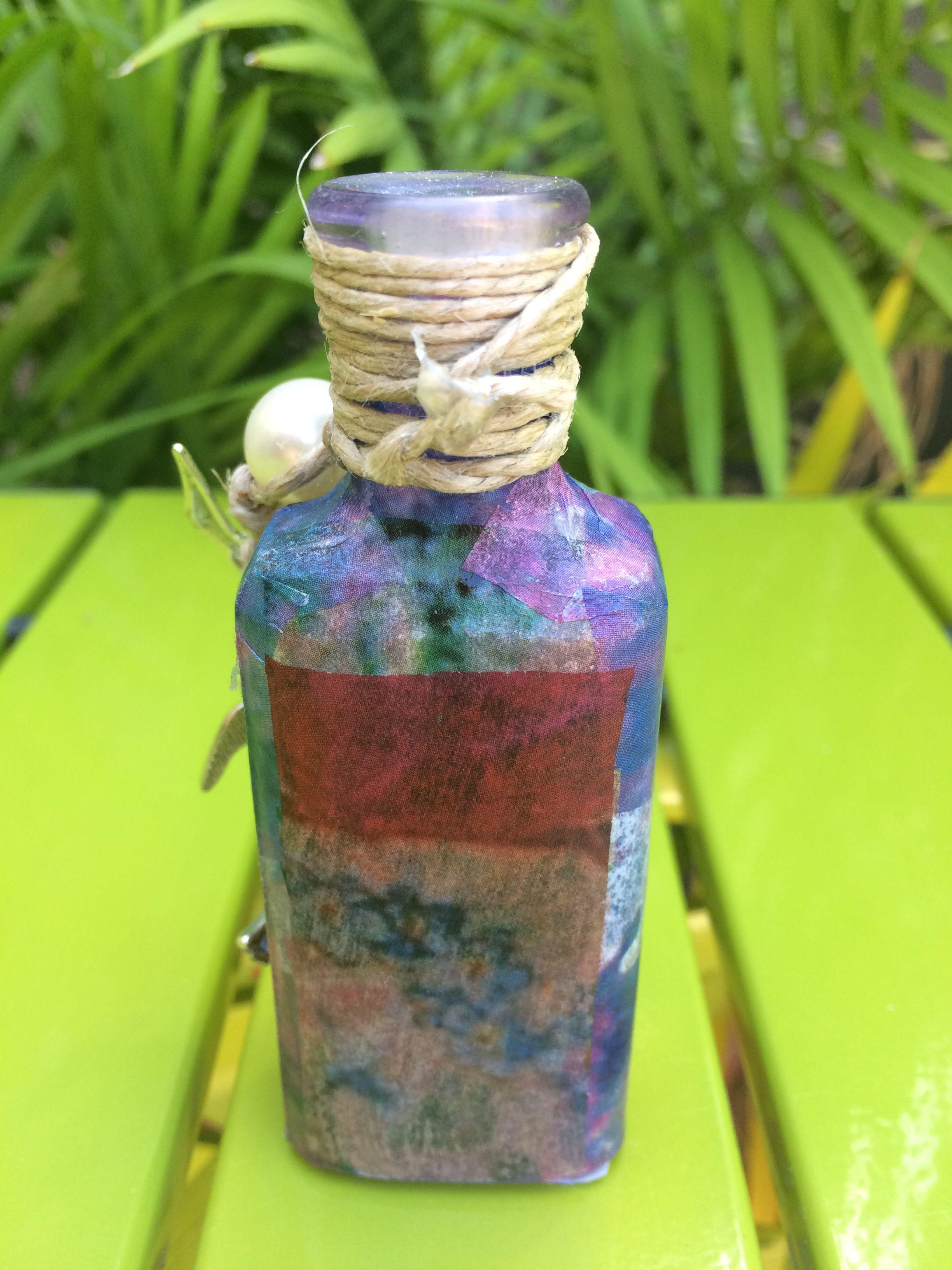 gift vintage birthday birds bottle fairy boy decoupaged