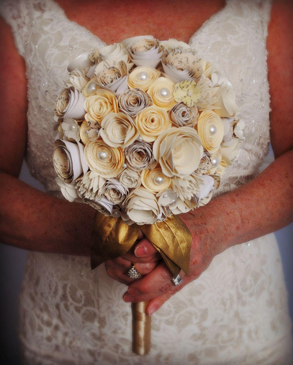 wedding vintage pearls bouquet bride paperflowers bridal