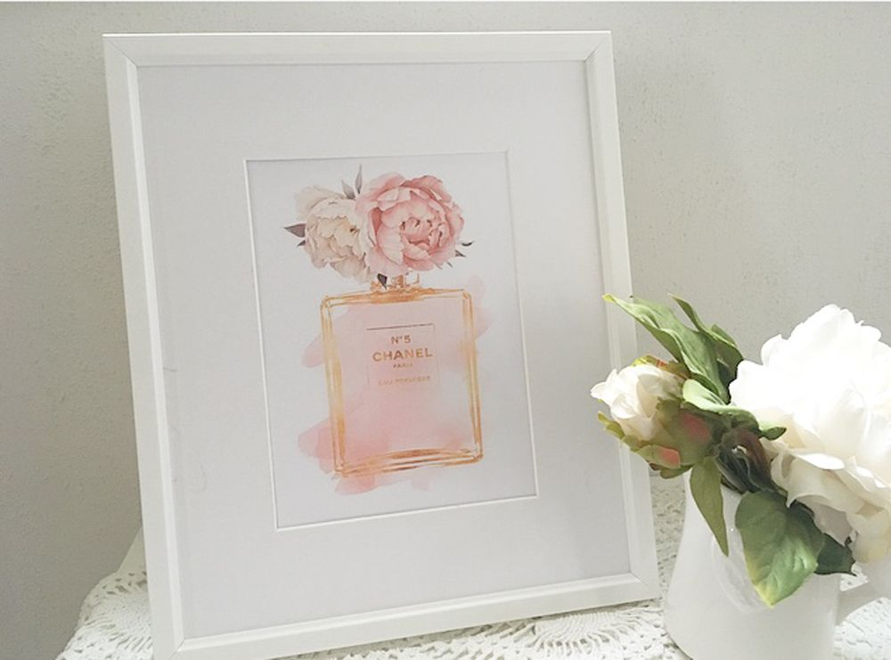 Chanel print, pink peonies, chanel wall decor, chanel bedroom art, pink  chanel print