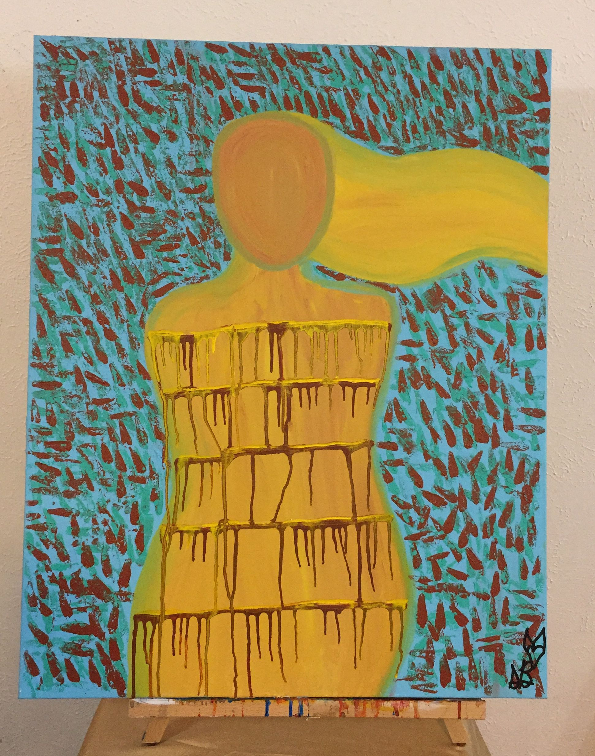 art painting decor acrylic canvas home figure original office wall large abstract figurative poetry drip