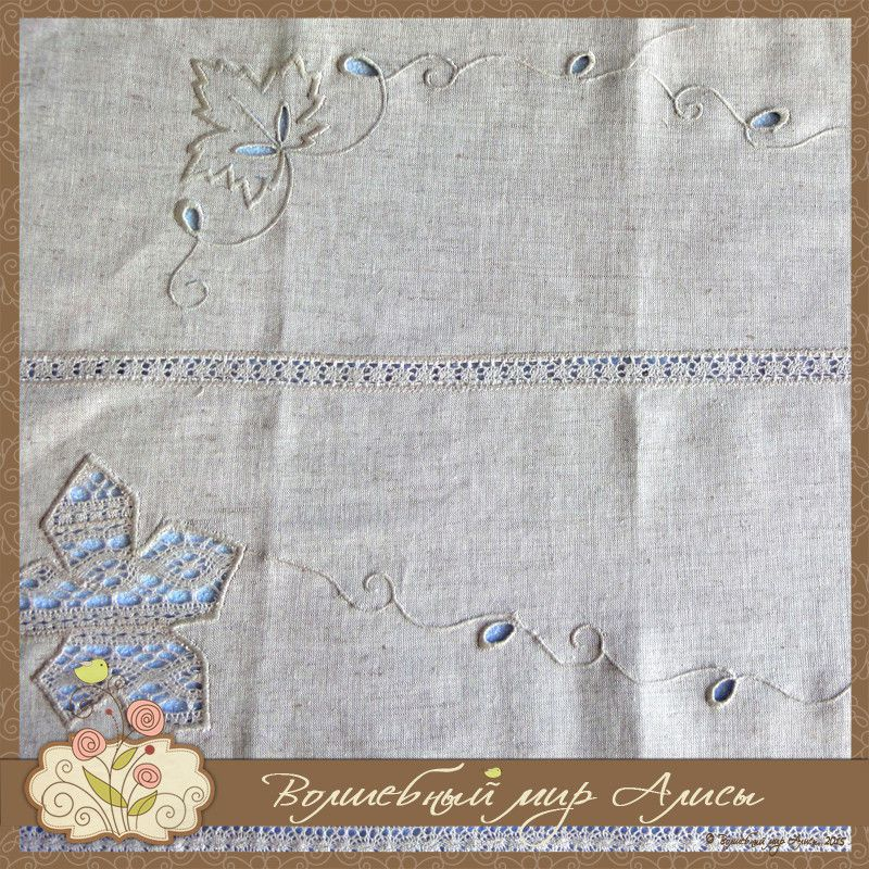 interior embroidery tablecloth beige flax
