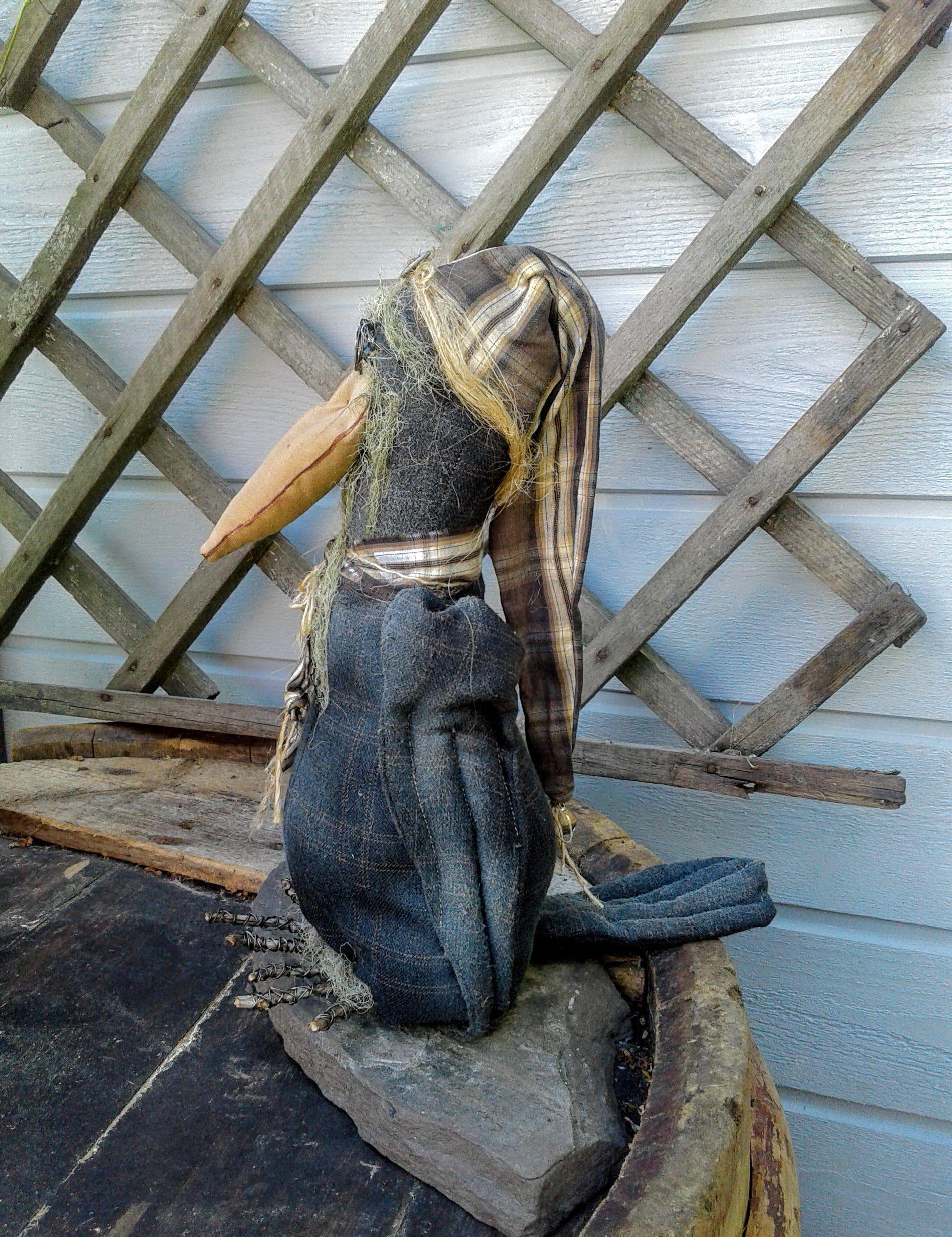 doll decor fall halloween crow primitive handmade