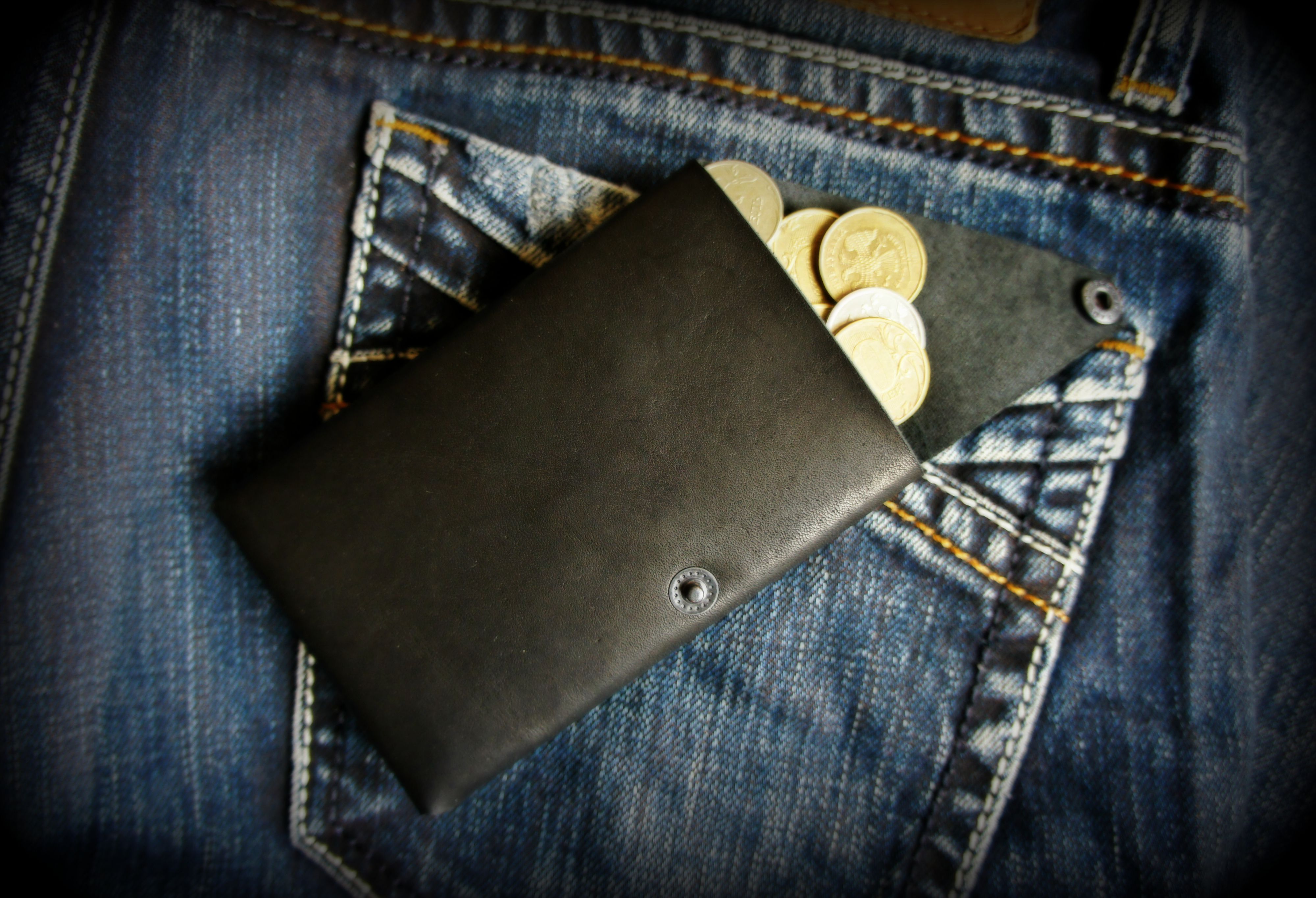 leather men wallet cardholder black