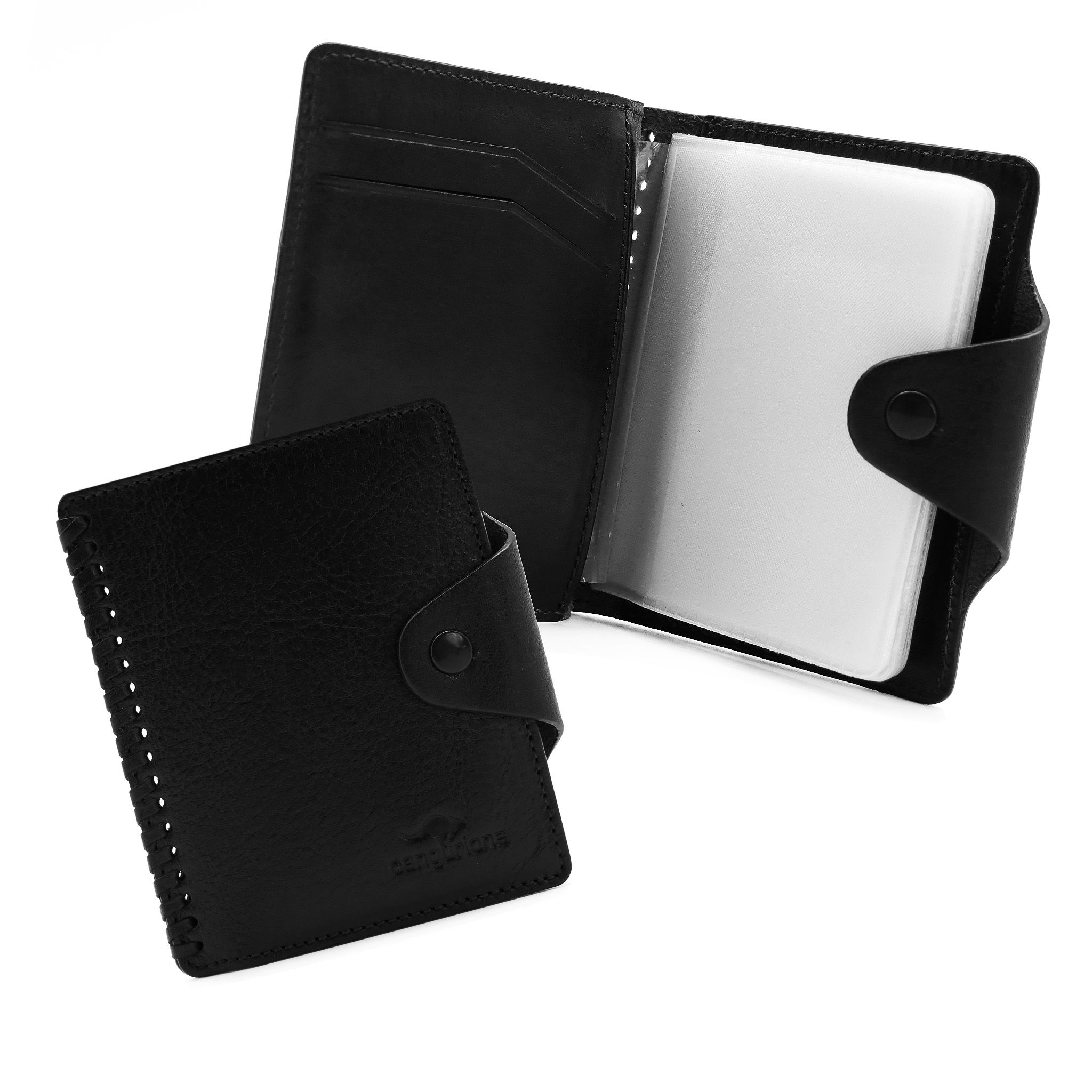 handmade leather accessories cardholder black