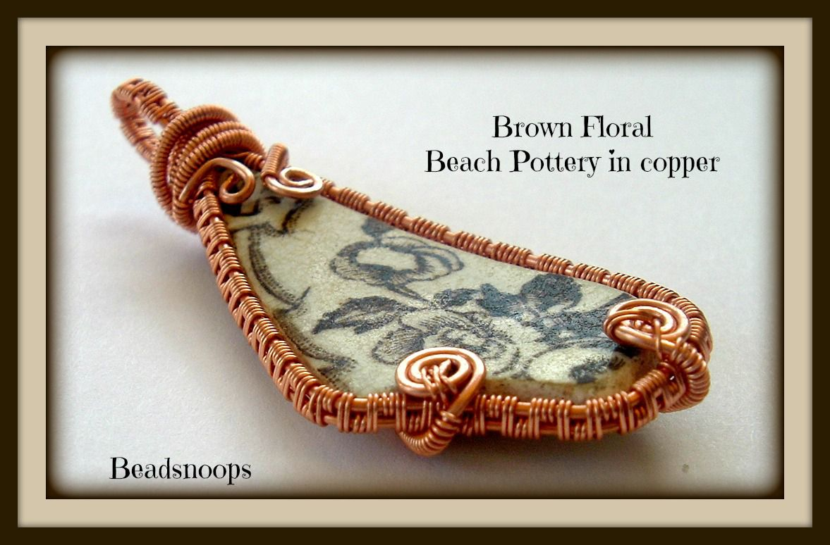 vintagepottery beachtile beachtreasures wirewrapweave copperpendant oceanfinds beadsnoops beachpottery vintage brownpottery