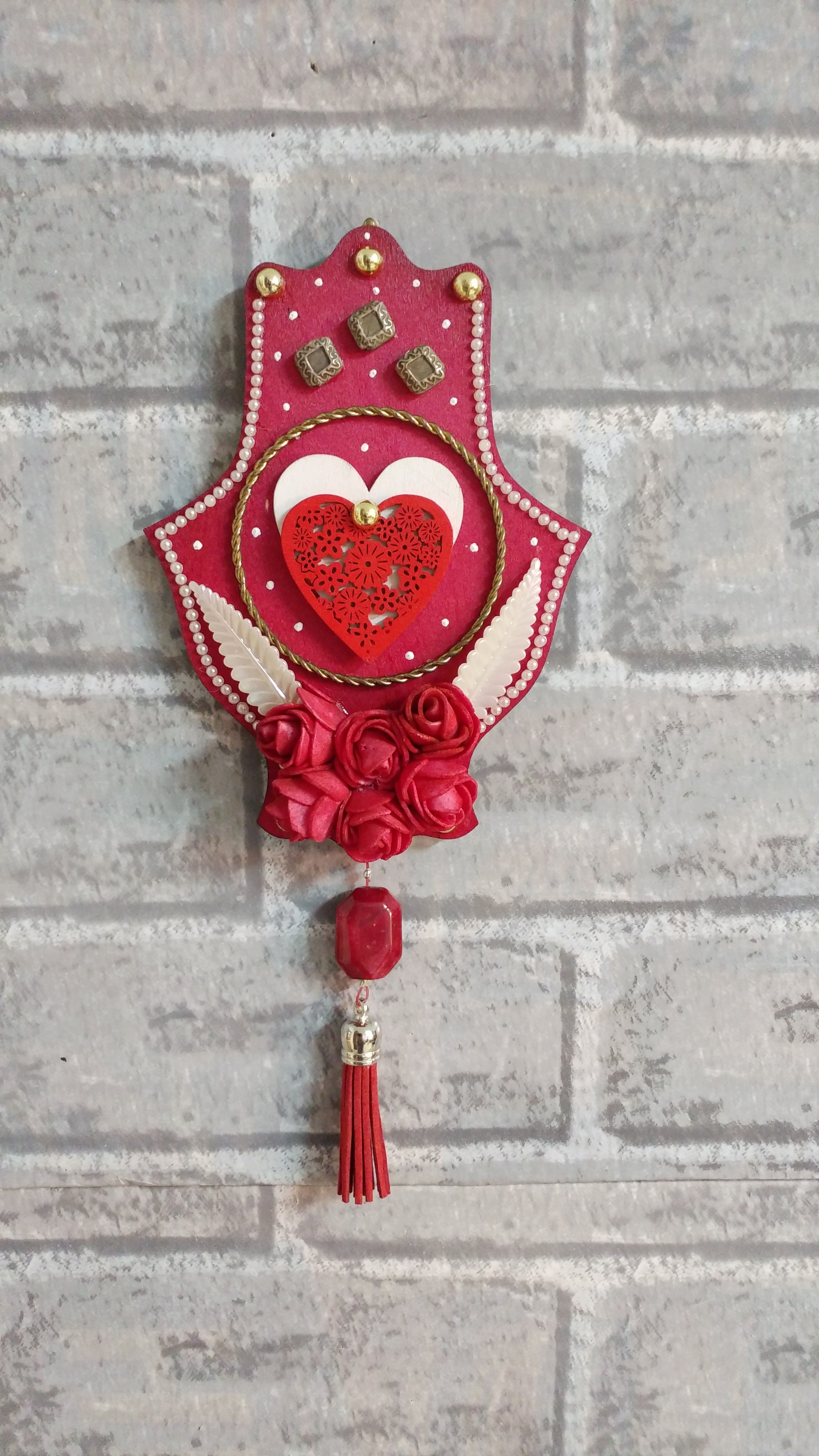 gift art decor wooden home charm décor living good luck red room wall hanging hangings hamsa chamsa jewish housewarming judaica