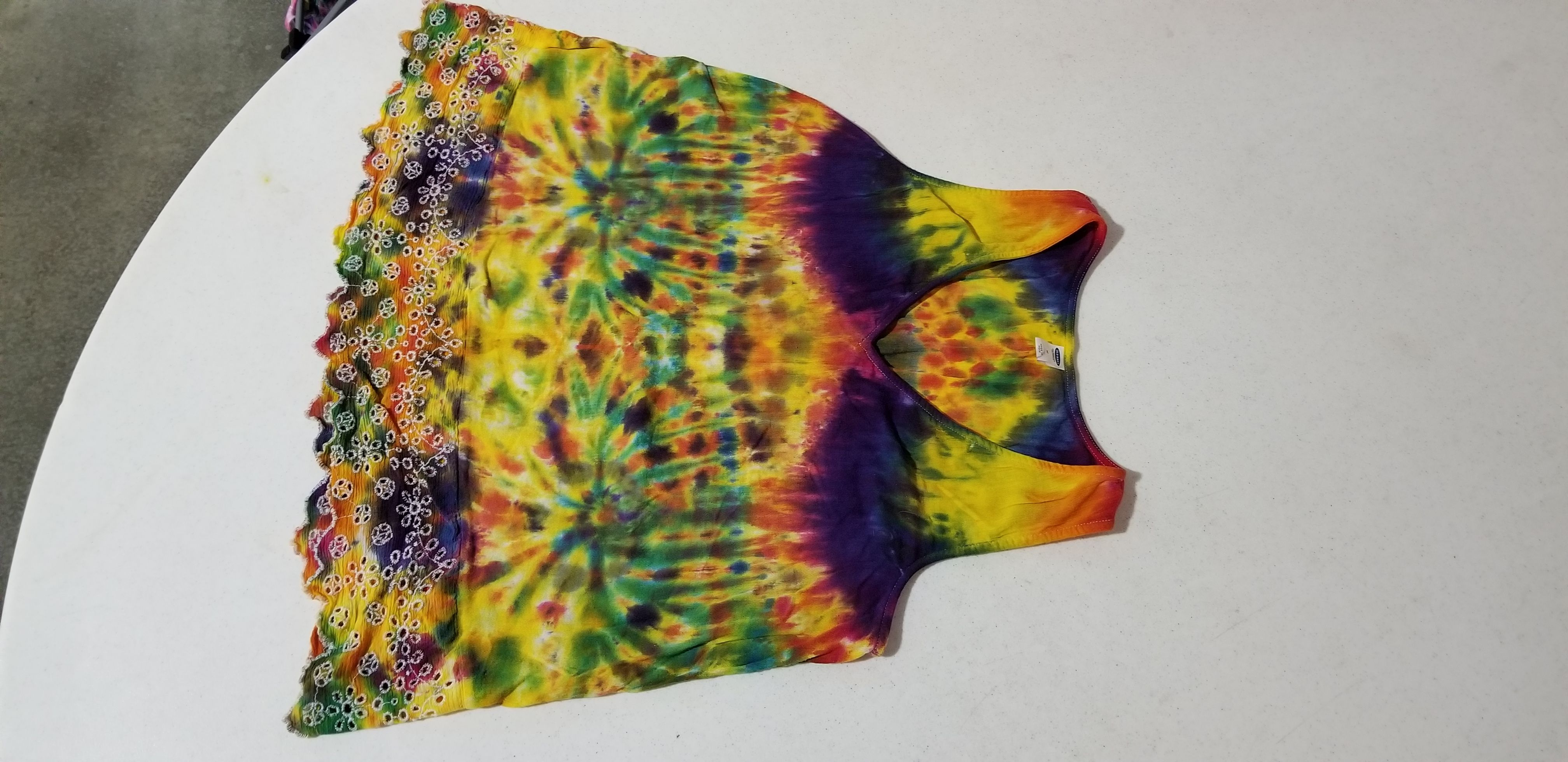 tie old navy psychedelic dye yellow