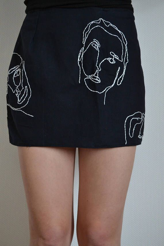 skirt clothes mode fancy stiching oneline handmade embroidered faces modern clothing classy embroidery