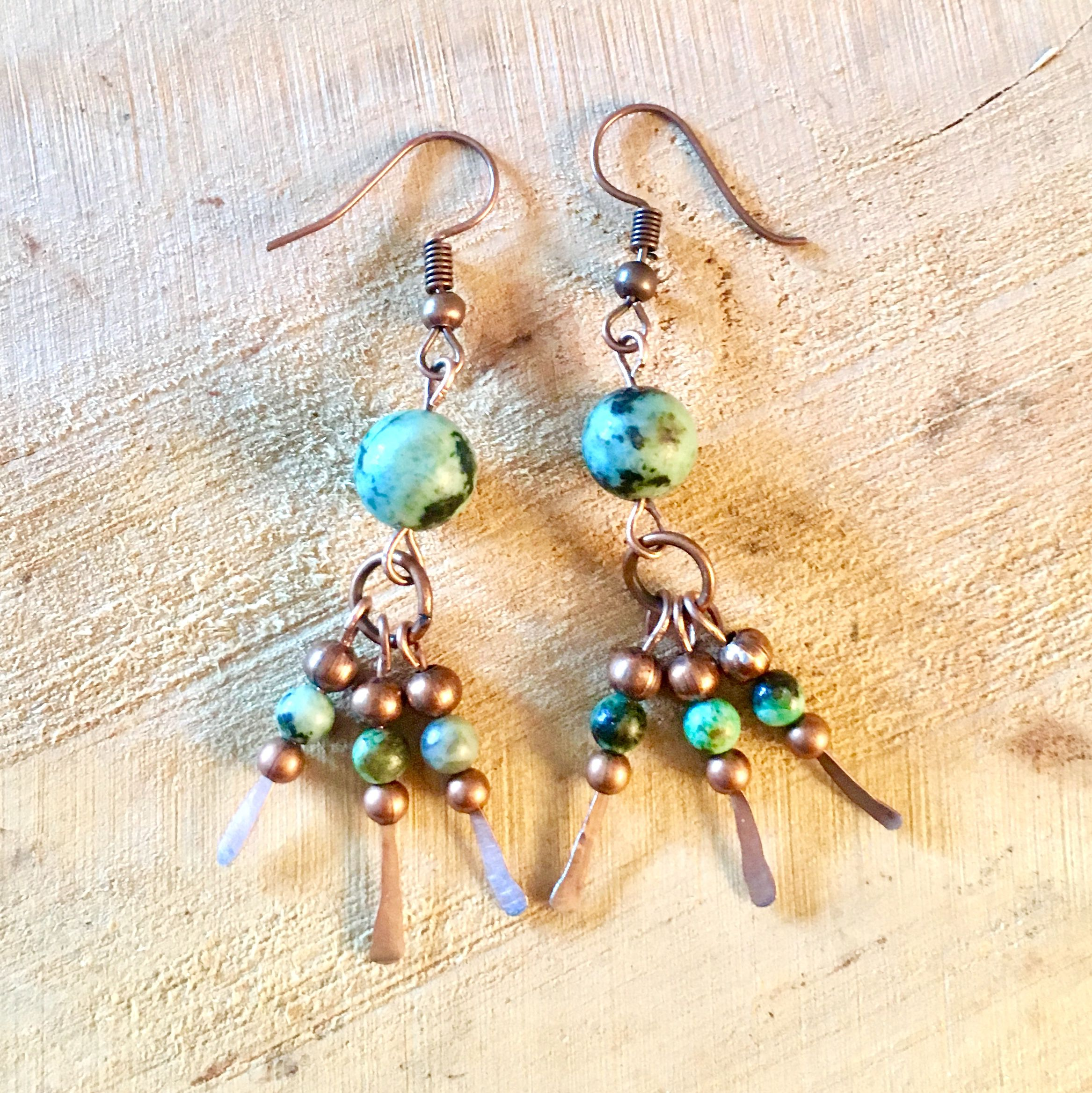 boho earrings turquoise copper beaded jewellery chandelier bohemian wirewrapped dangle african hammered