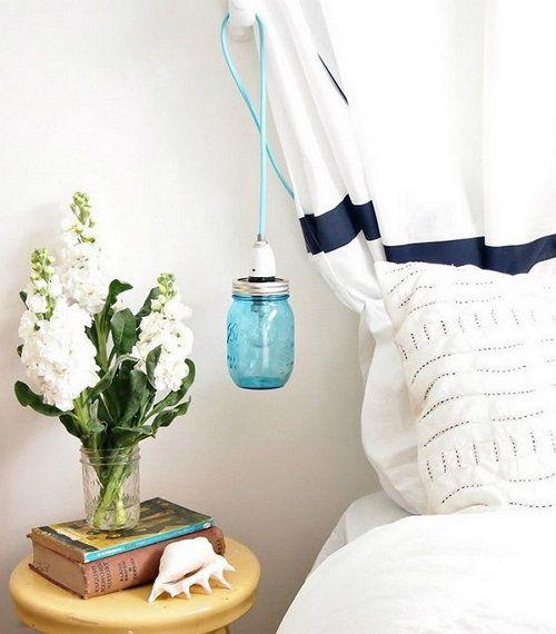 jar glow blue lights mason make