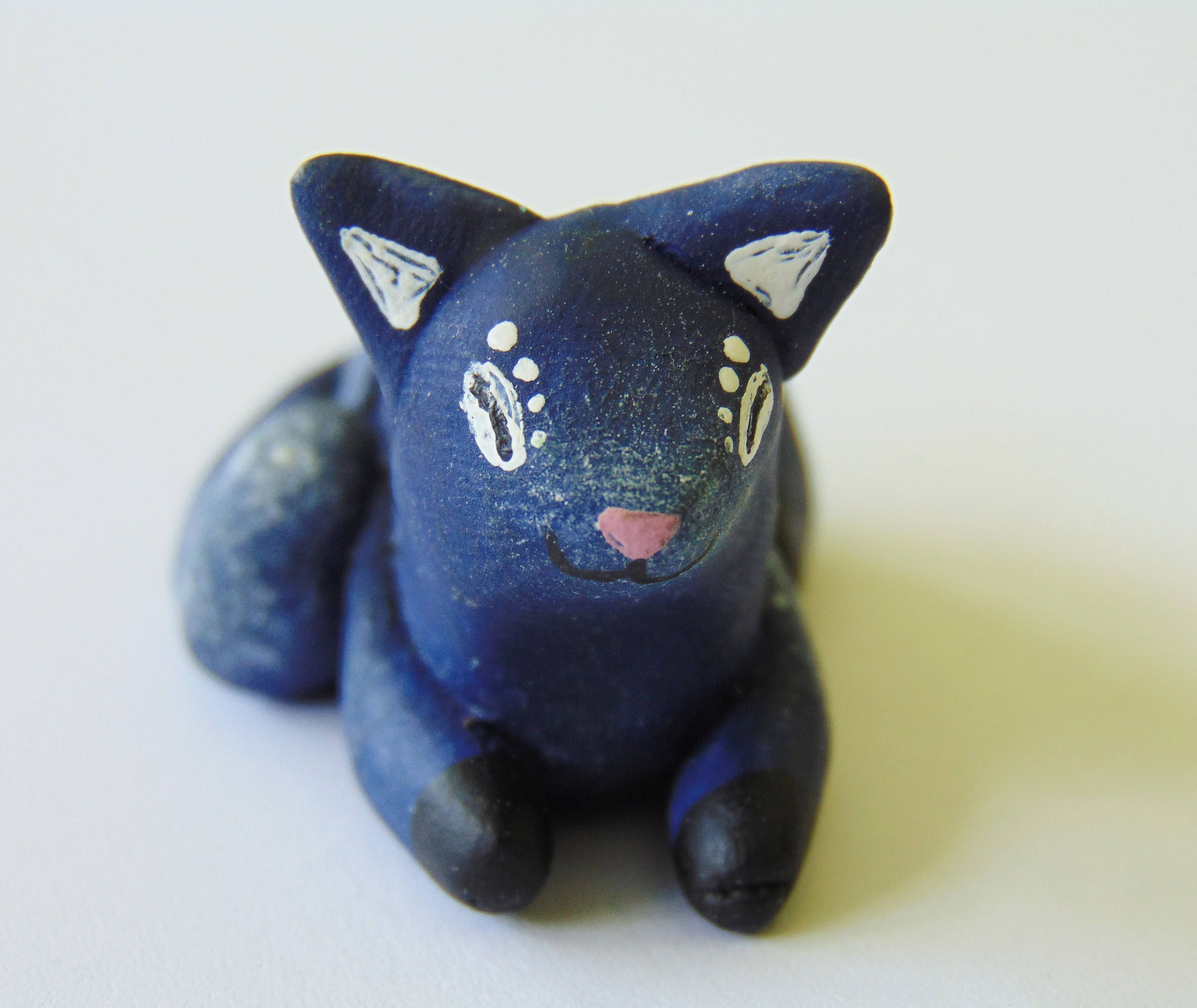 scene cat cute miniature sky sleeping totem kitty figure night sculpture polymer animal clay sculpey