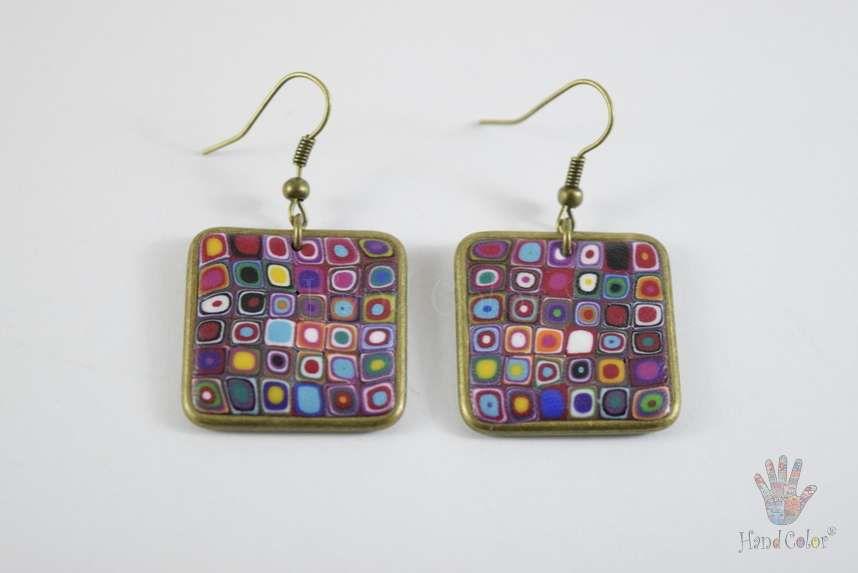 tradition accessories fashion portuguese klimt gustav original handcraft handmade jewellery beauty jewelry polymer clay bijouterie square