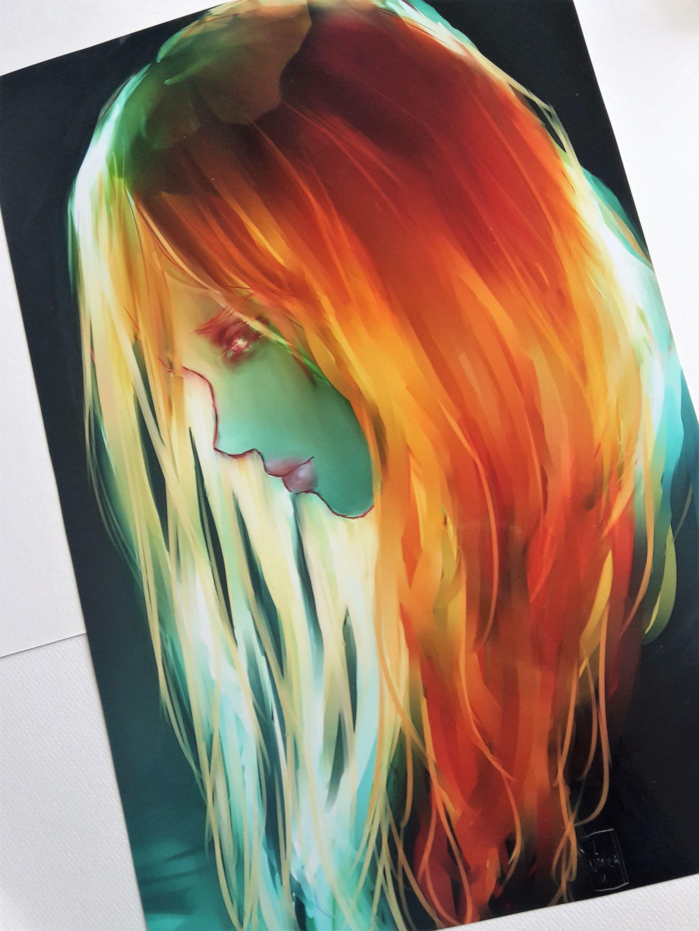 art girl beautiful light artist print earth calm digitalart
