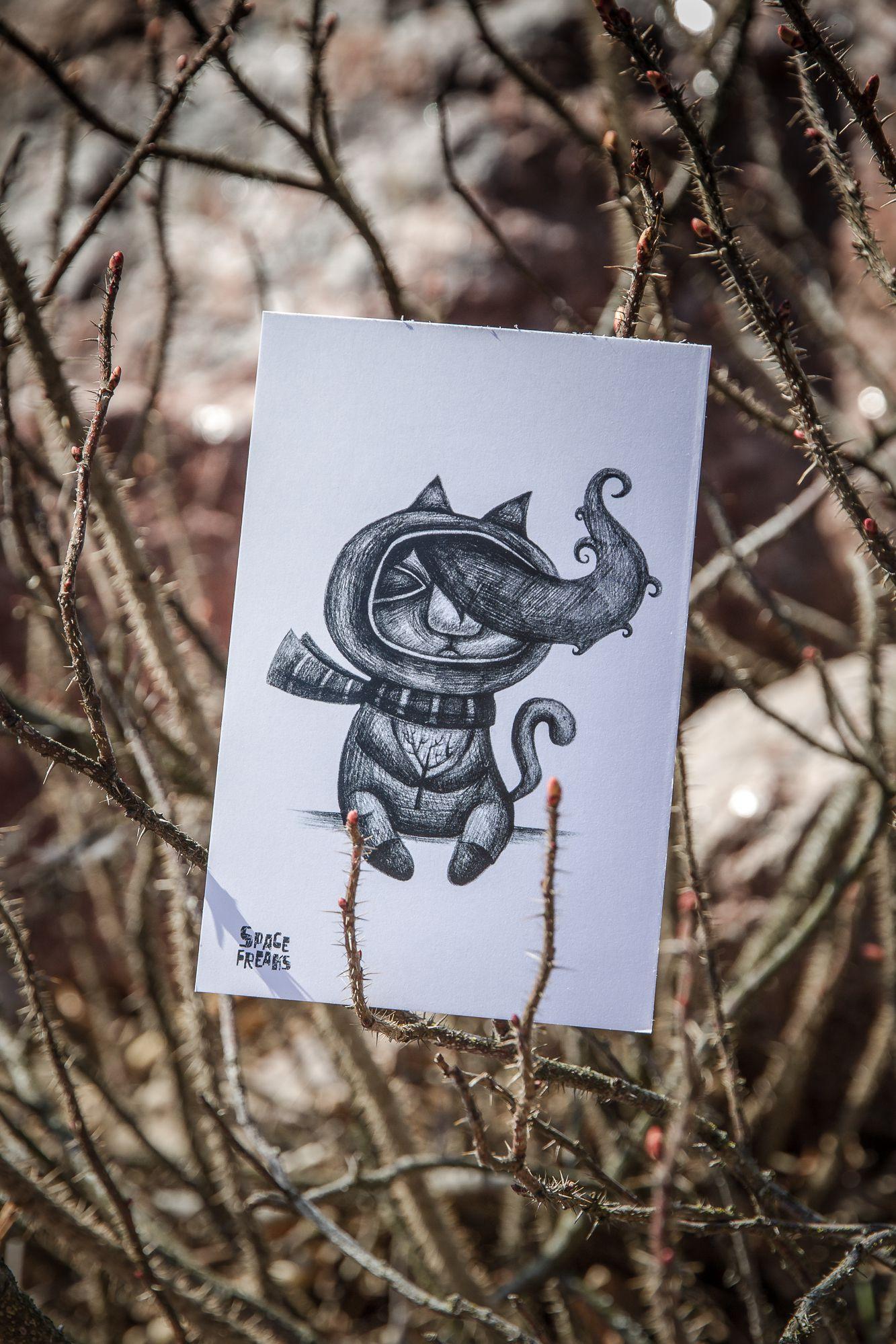 kraft cat gift postcard handmade thinker