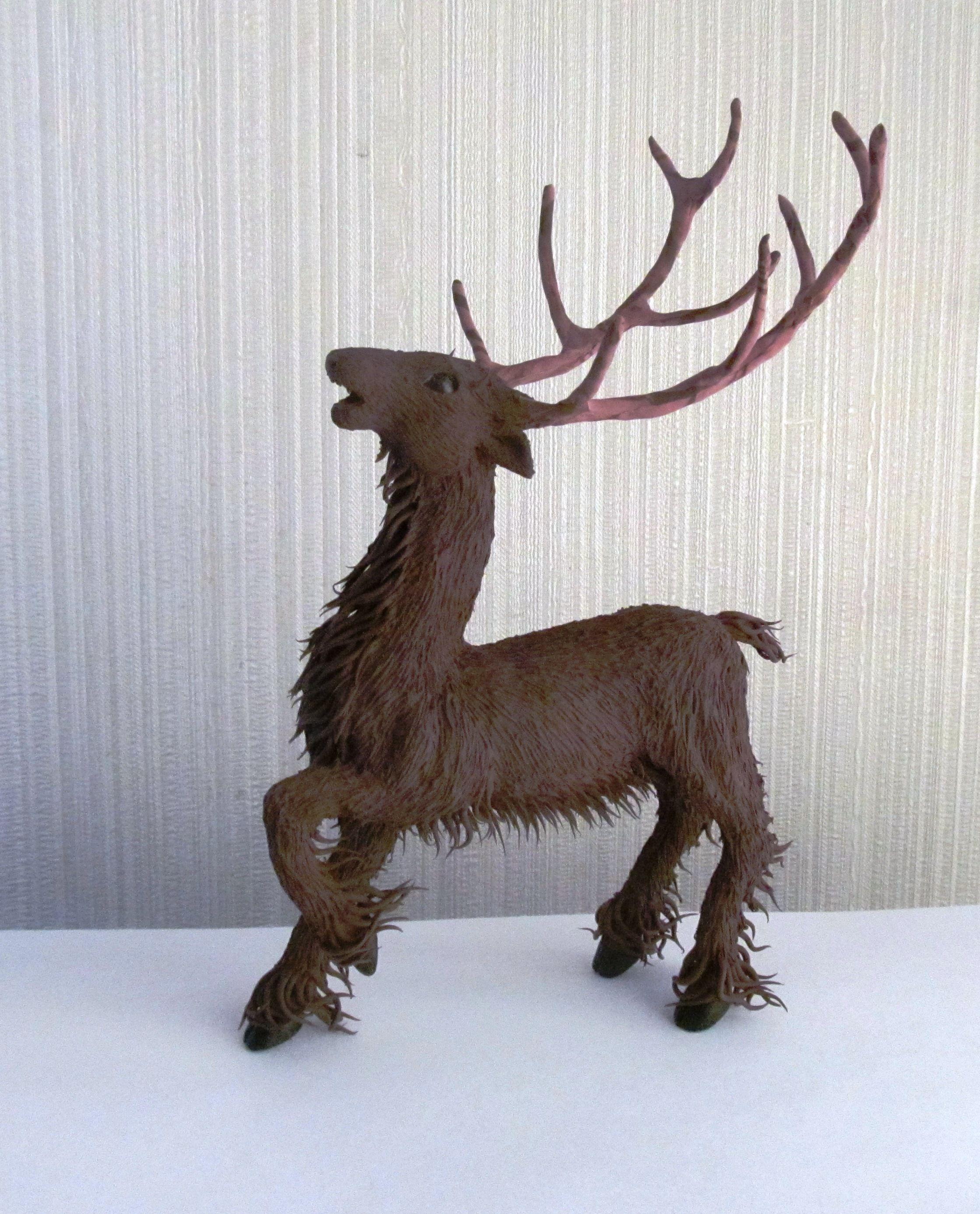 handmade velvety statuette keeper deer plastic figurine forest