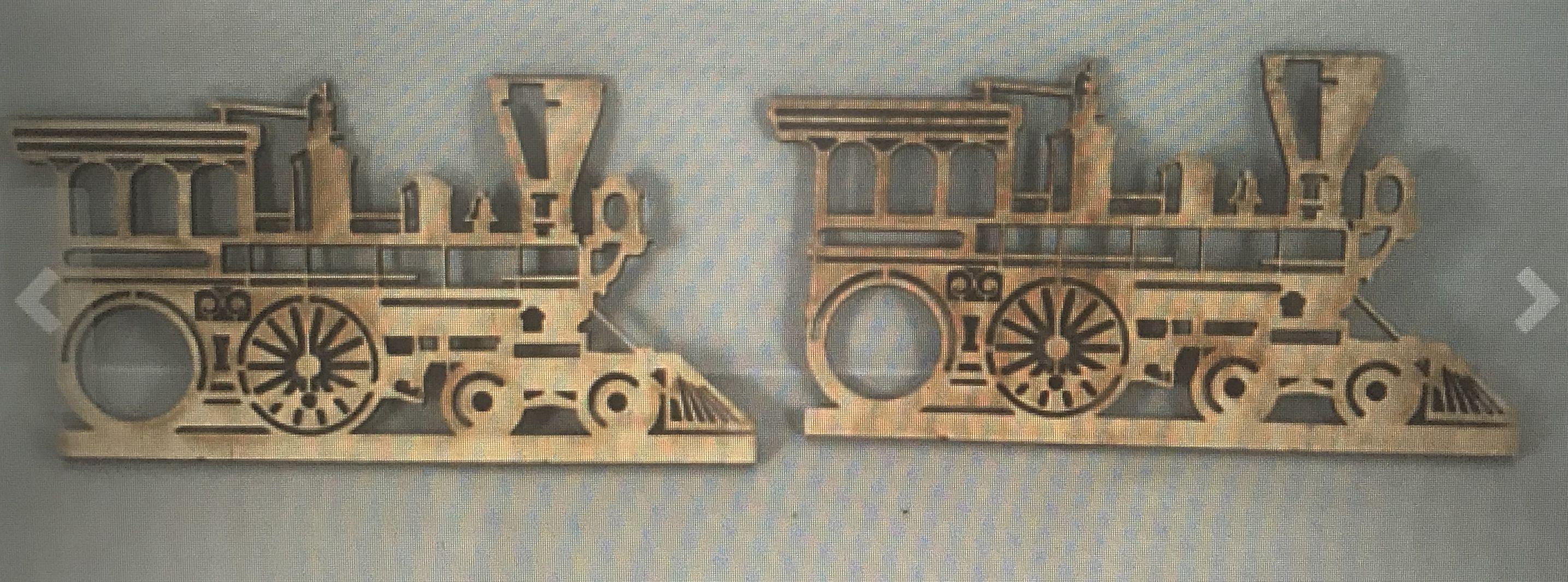 engraved wood laser trains