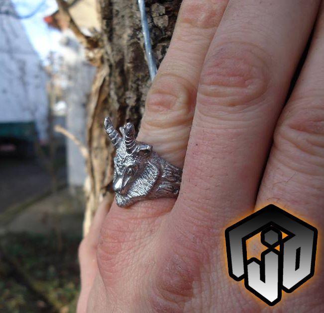 demon vampire satanic satanist black goat jewelry metal devil ring demonic gothic baphomet