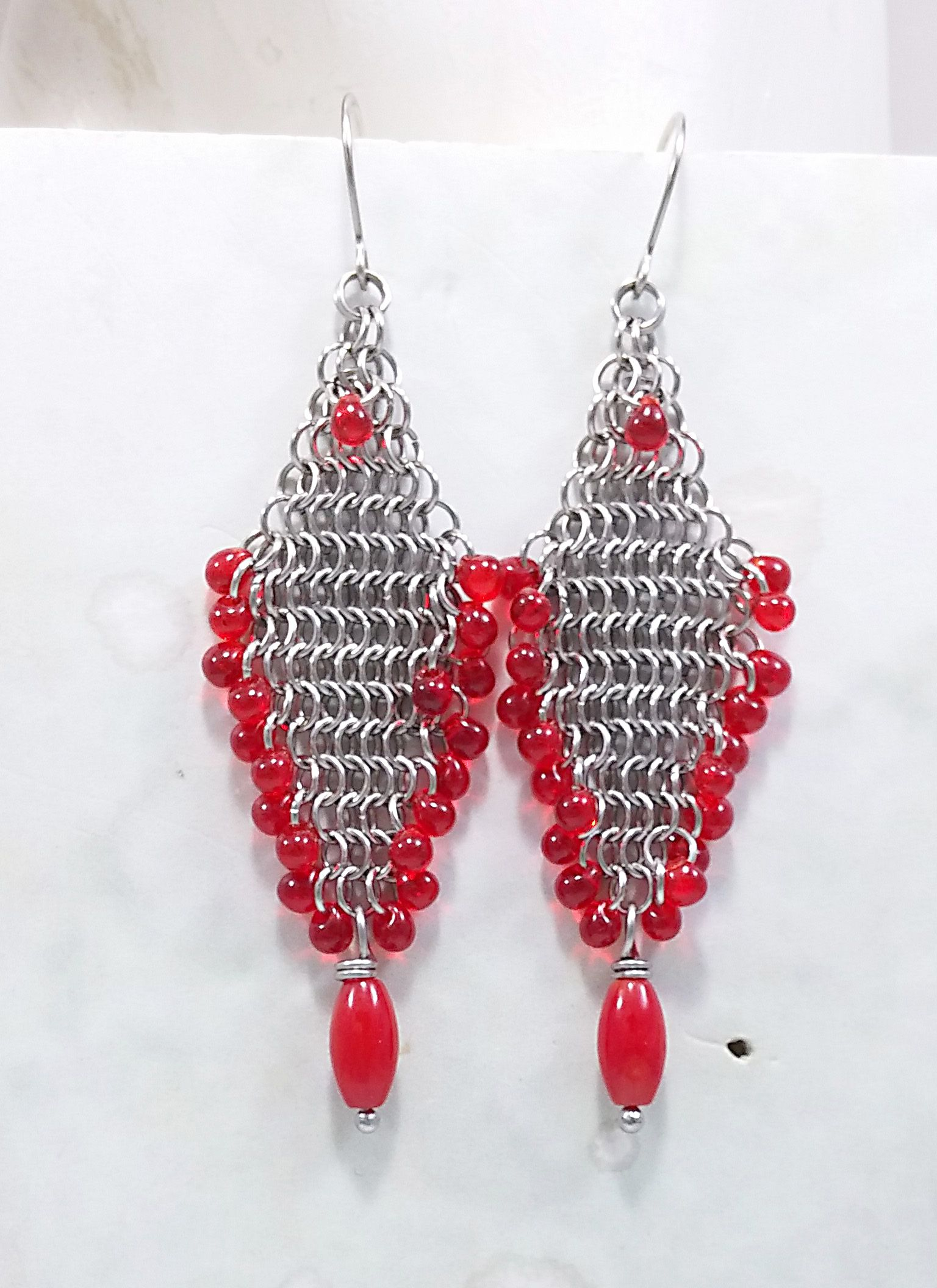 european festije redearrings holiday stainless chainmail gifts earrings red christmas jewelry metal