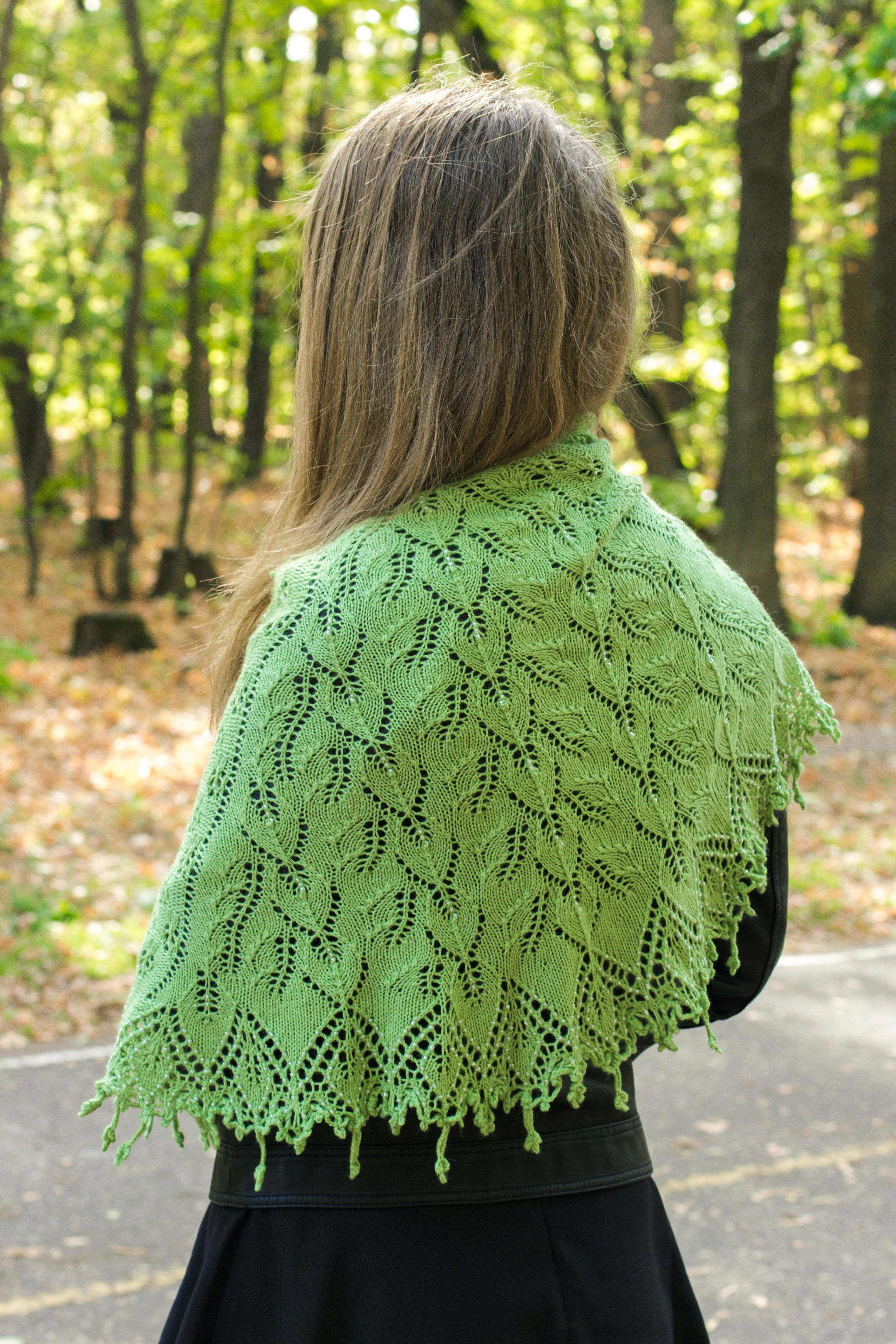beads wool birch shawl
