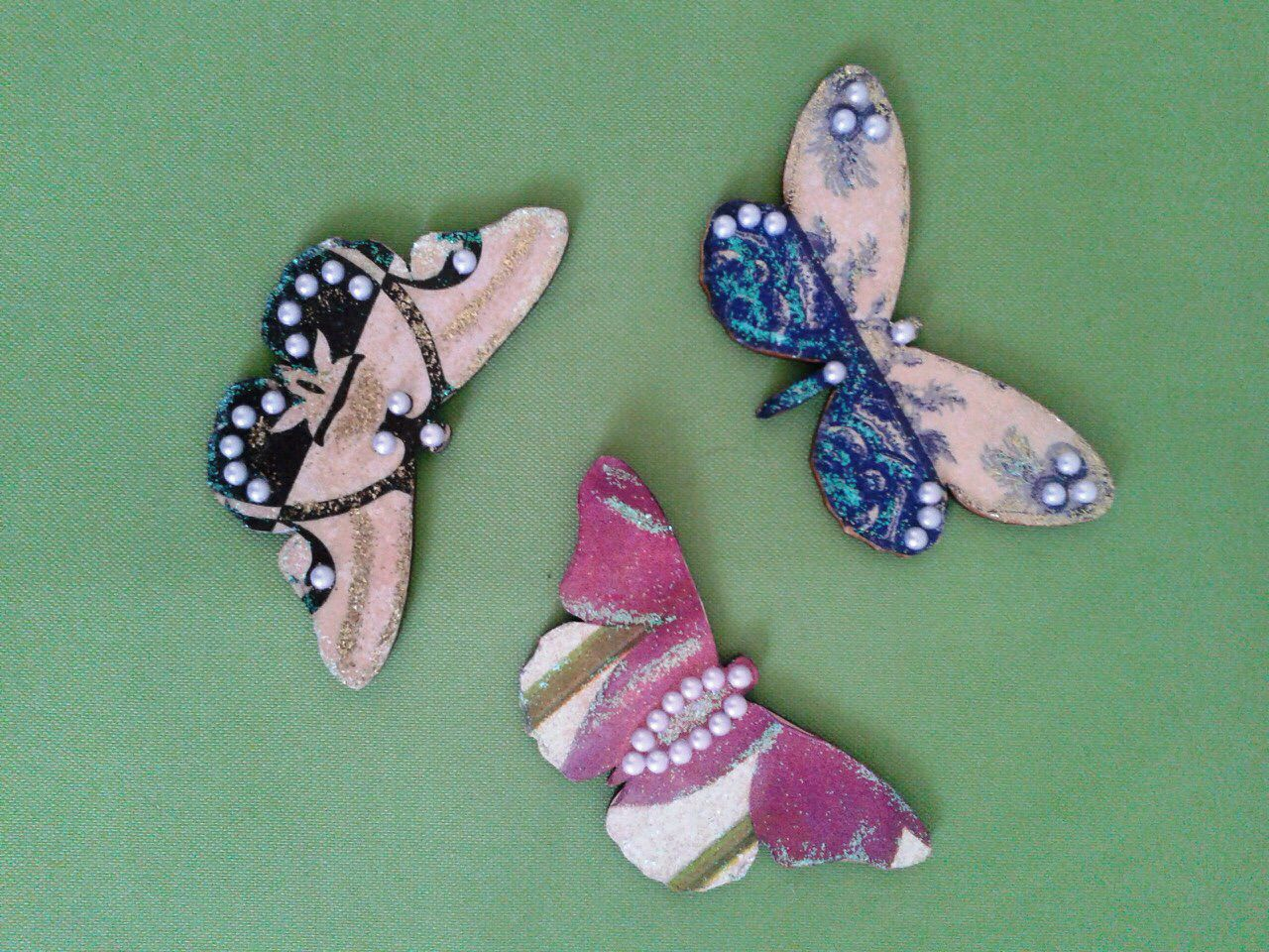 handmade colorful butterfly decoupage