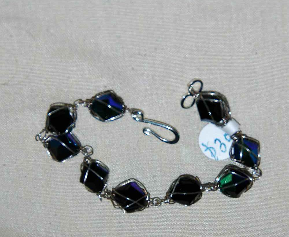 wire hand wrapped black crystal jewelry bracelet silver made