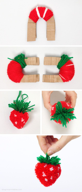handmade threads project tutorial original idea diy beautiful fruits cute bright pompom
