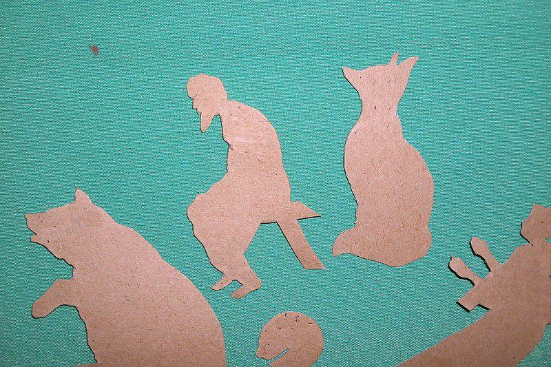 cut make cardboard puppets shadow