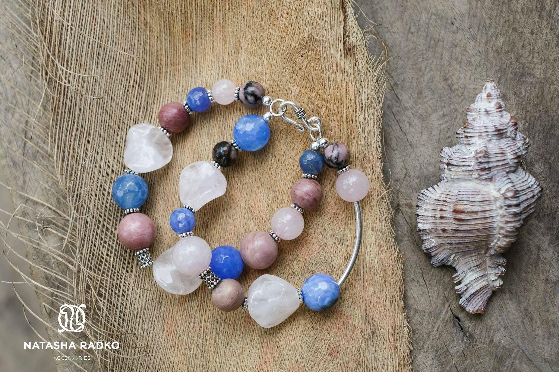 quartz agate wristlet jewelry rhodonite silver rose
