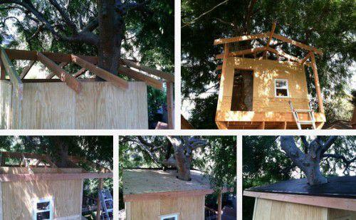 manual build treehouse wood gradually