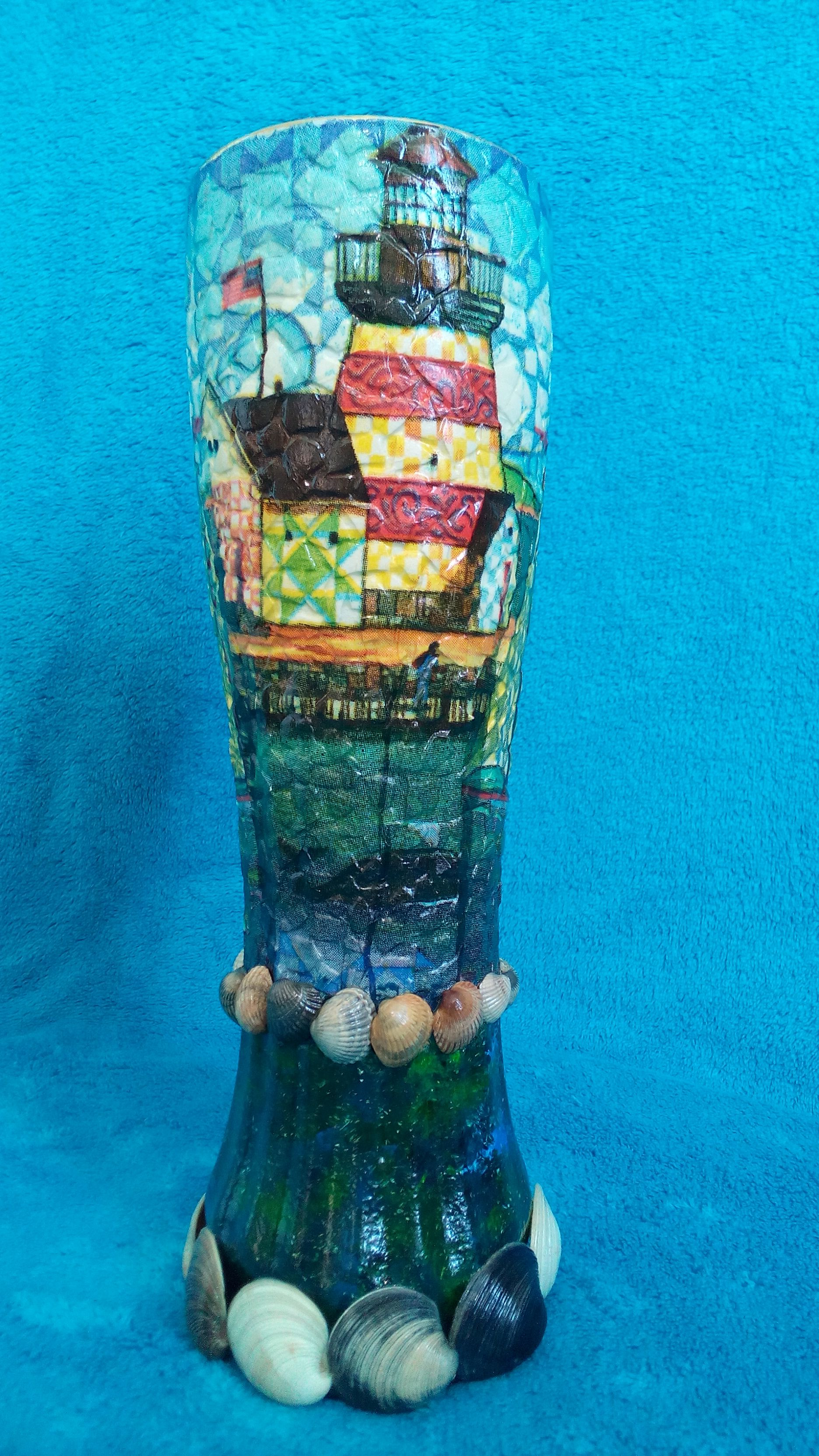 abstraction vase interior decoupage