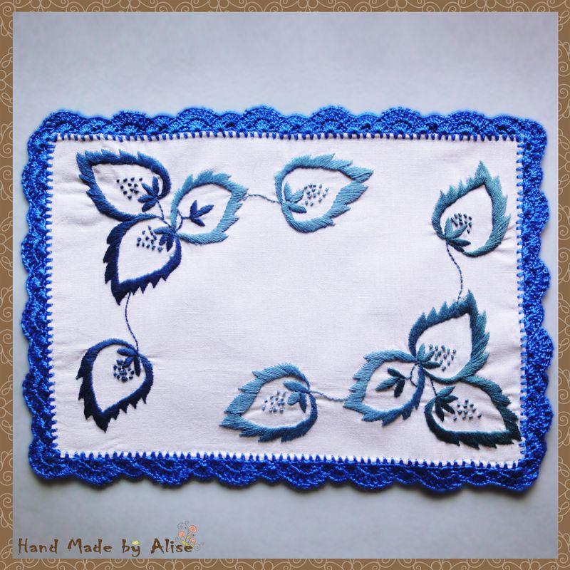 white napkin interior blue table