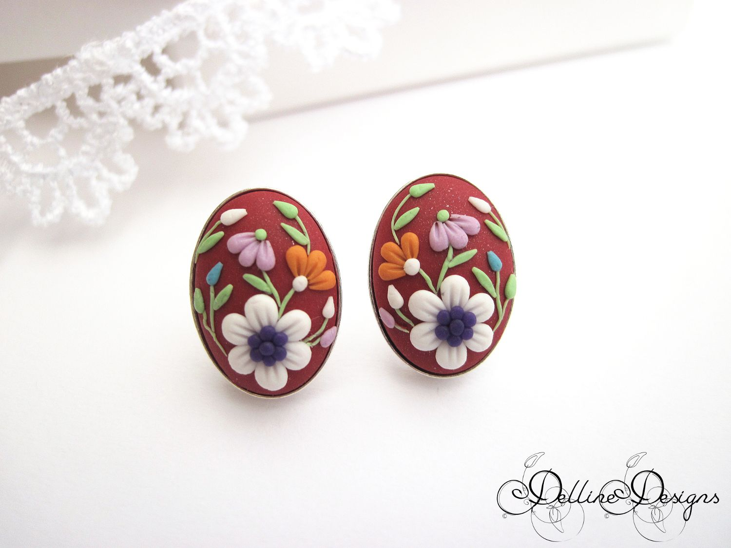 sterling handsculpted stud flowers applique filigree gift present red earrings unique floral jewelry handmade polymer clay silver embroidery