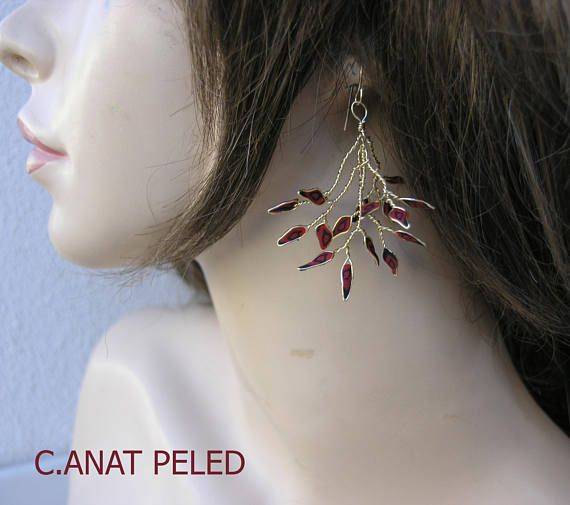 mom unique leaf gift branch twig earrings red for