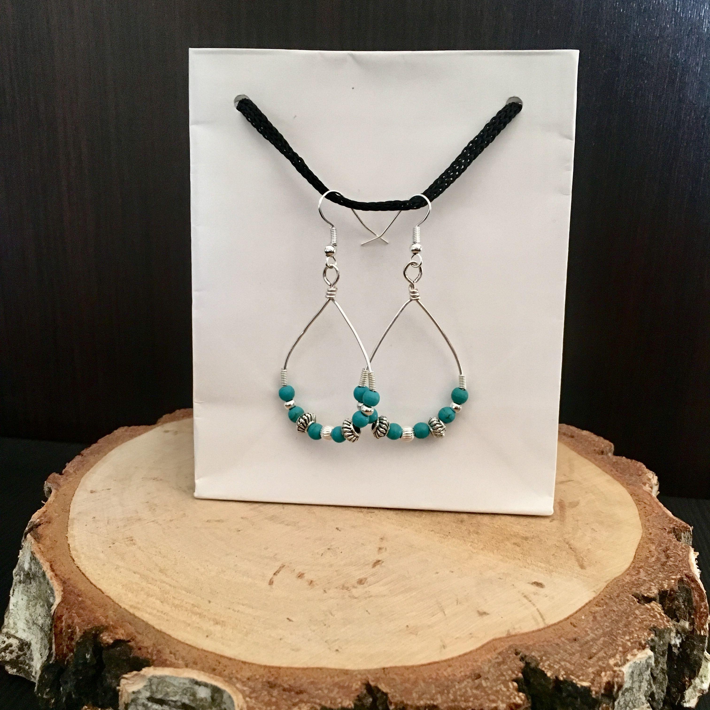 boho silver earrings wire hoop turquoise beaded wrapped sterling bohemian wirewrapped dangle hooped