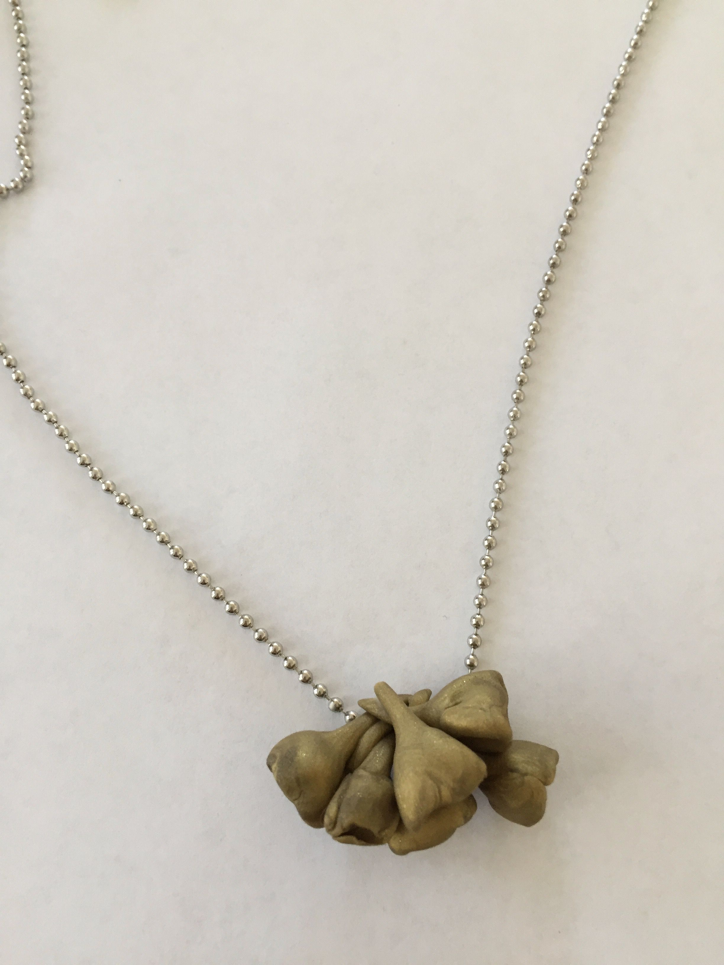 nature plated roses flowers bouquet gold necklace clay silver