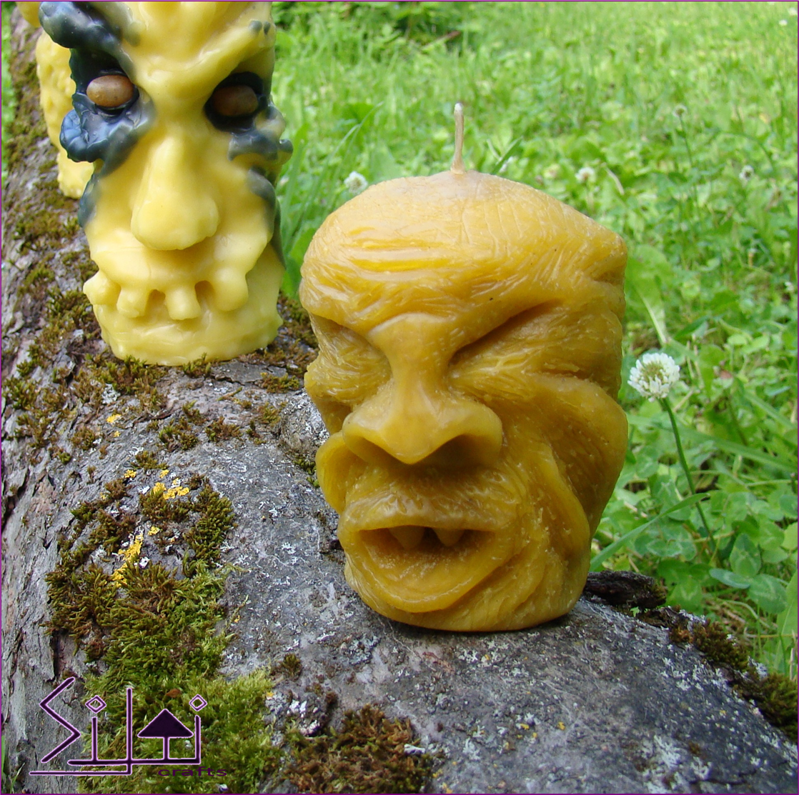 handsculpted candle natural beeswax beast monster halloween eco manly scary odd teeth sculpted