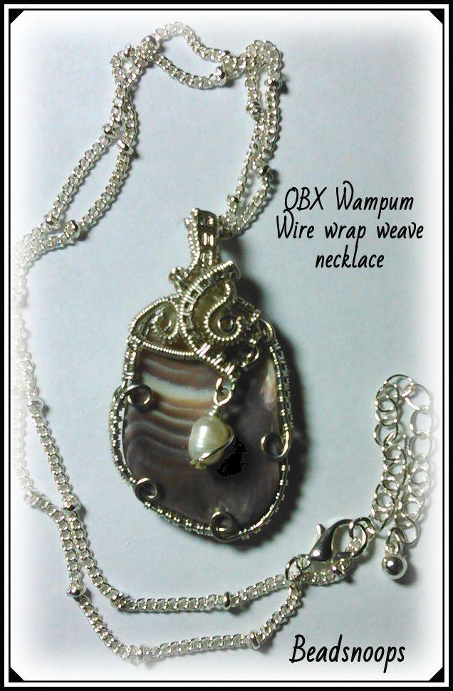 pendant handmade shell wampum necklace beadsnoops wirewrapweave beachcombing beachfinds