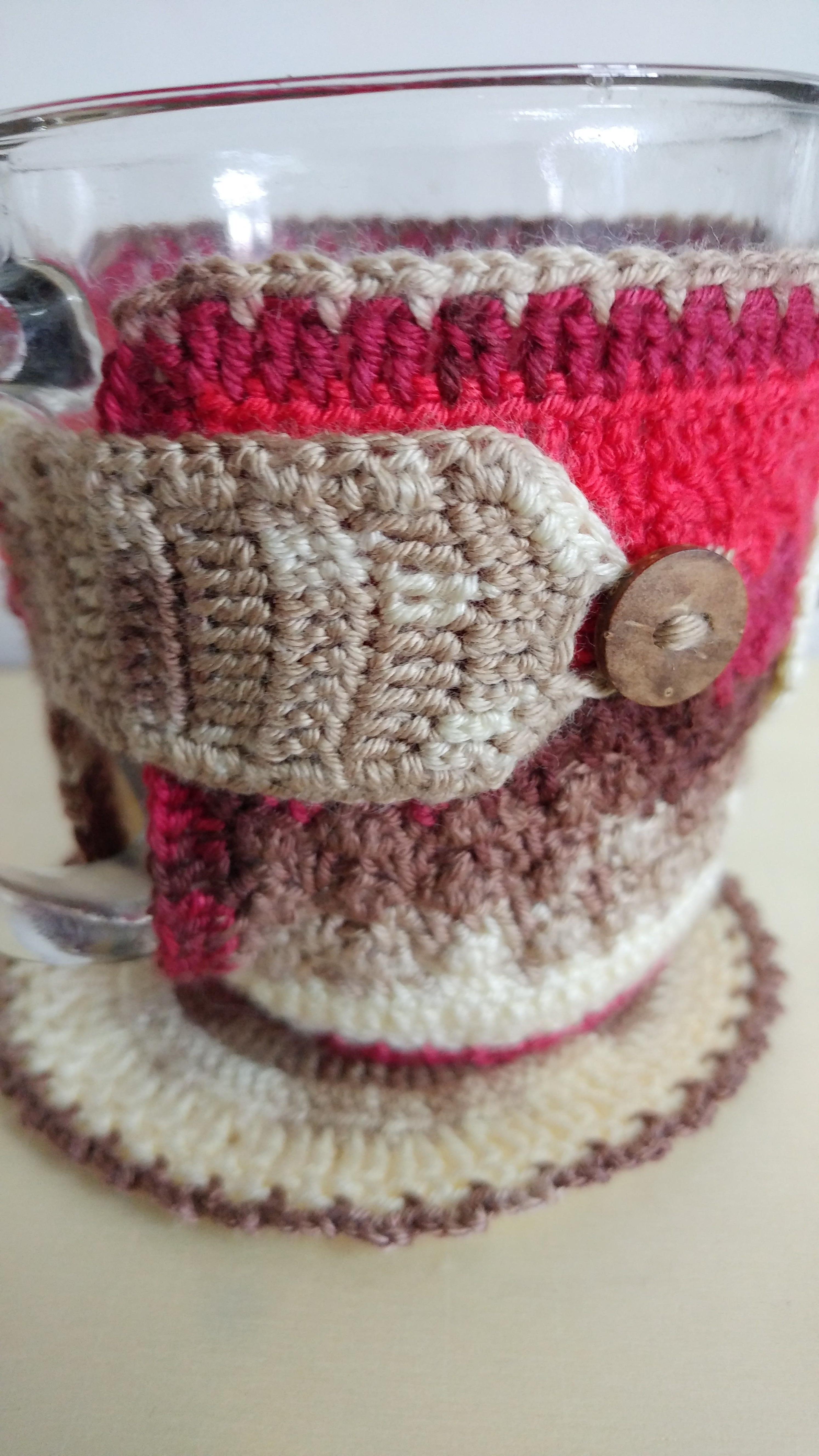 cover mug cozy sweater coaster crochet stocking hot christmas beverages