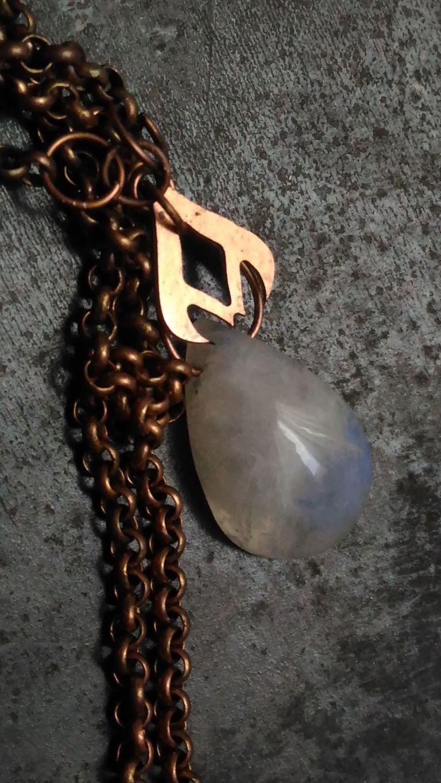 copper pendant shape moonstone chain glow blue necklace pear elegant