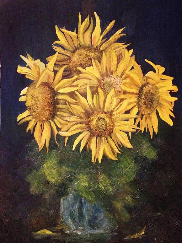 oil sunflower flower painting art