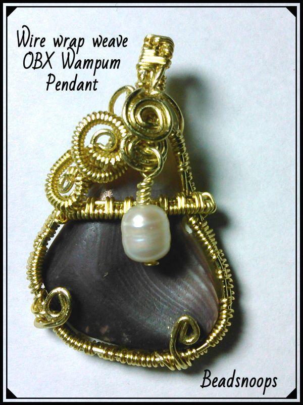 pendant shell gift wampum beachcombed beadsnoops wirewrapweave beachfinds