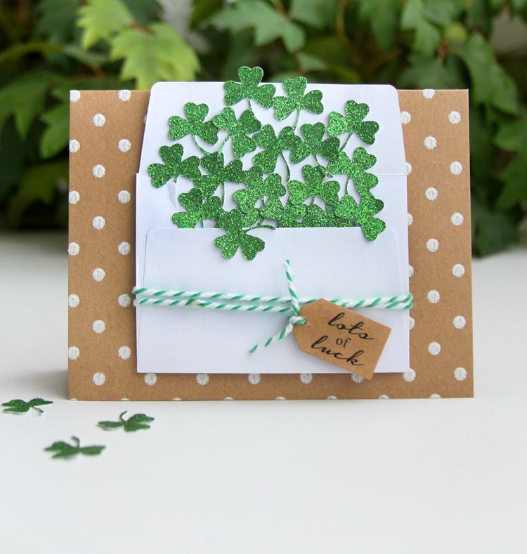 handmade card beautiful holiday glitter luck wishing shamrock friendship envelope simple