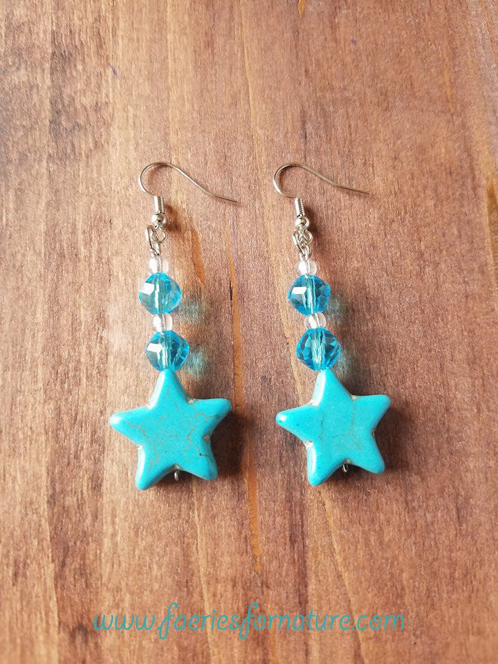 star gift cosplay stars costume mercury earrings turquoise jewelry geeky moon sailor kawaii amy senshi