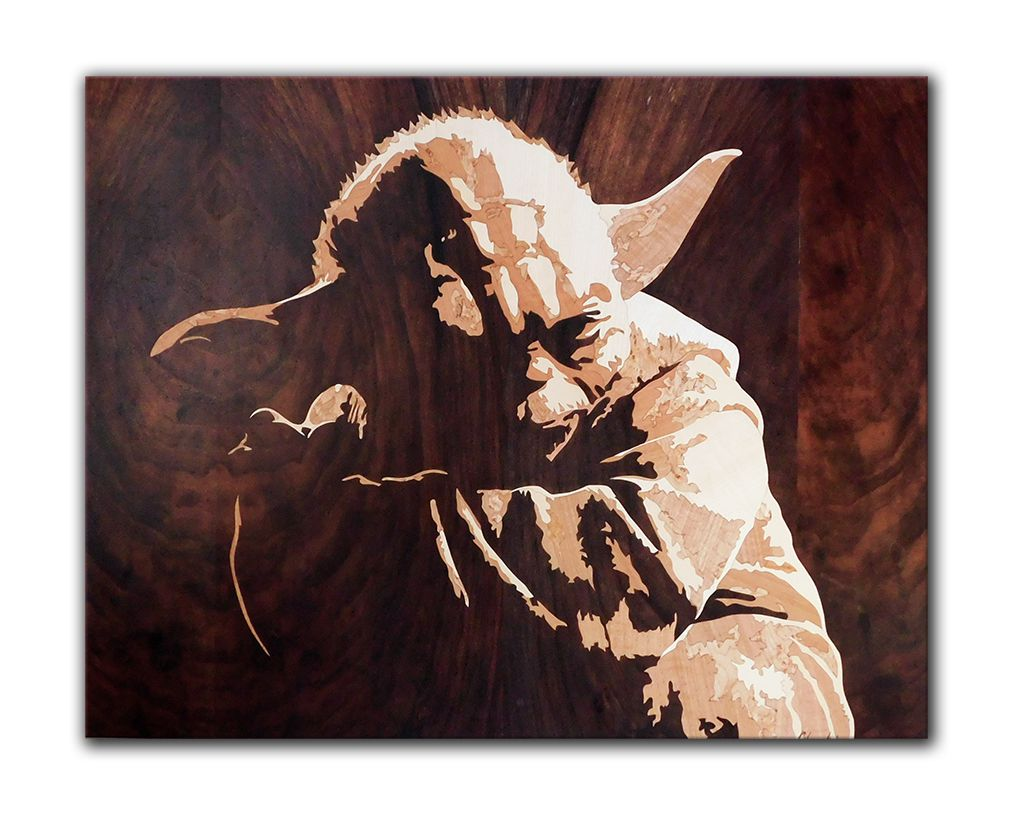 starwars fanart movie inlay marquetry intarsia master handmade scifi yoda wood picture
