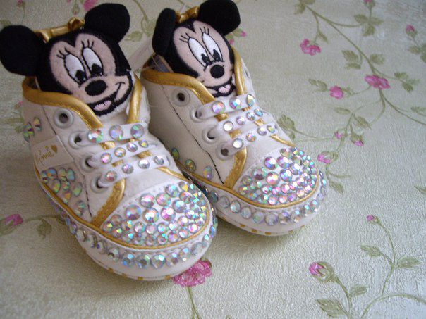 children sneakers mickeymouse studs