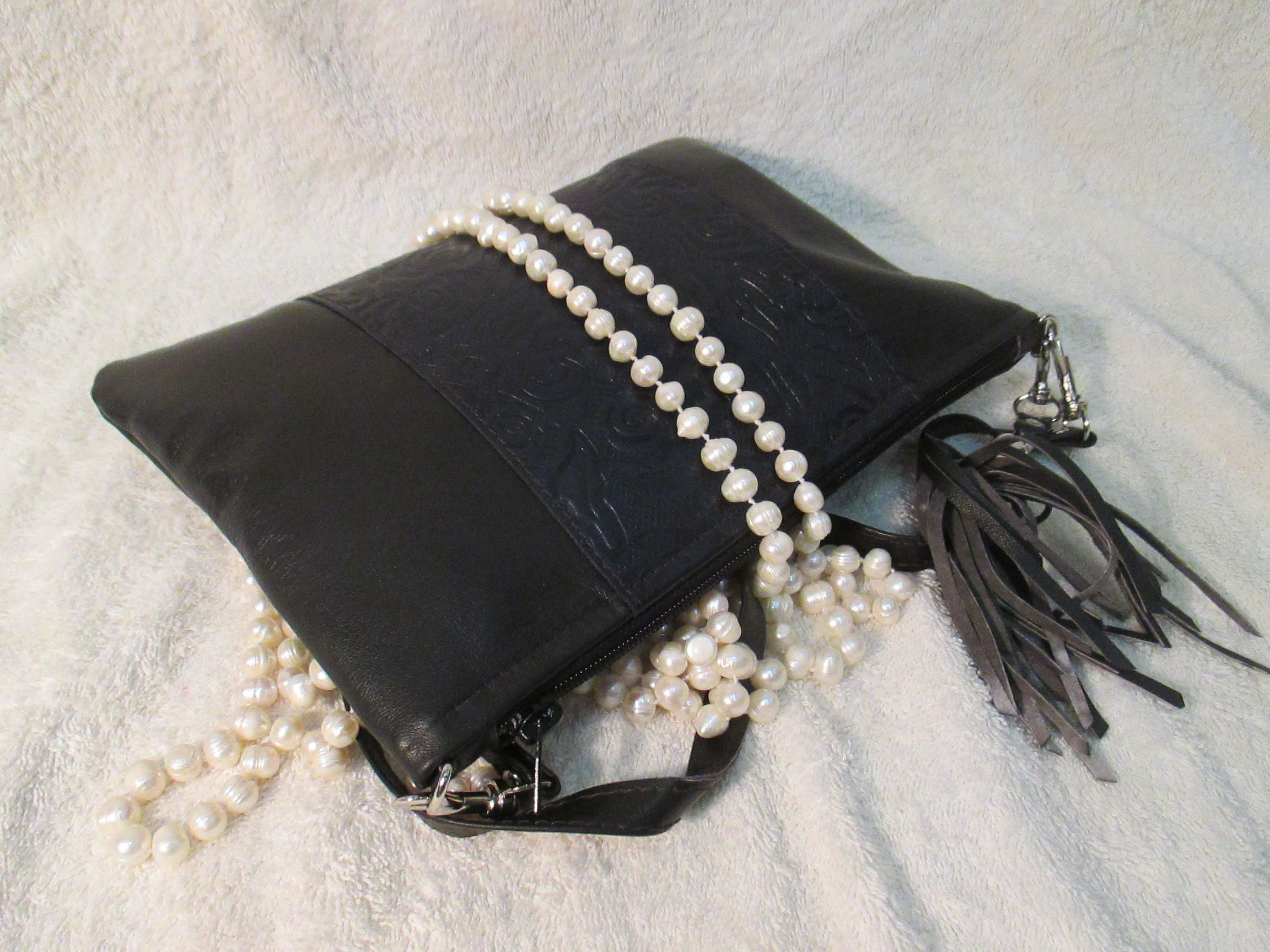 leather accessories bag clutch black