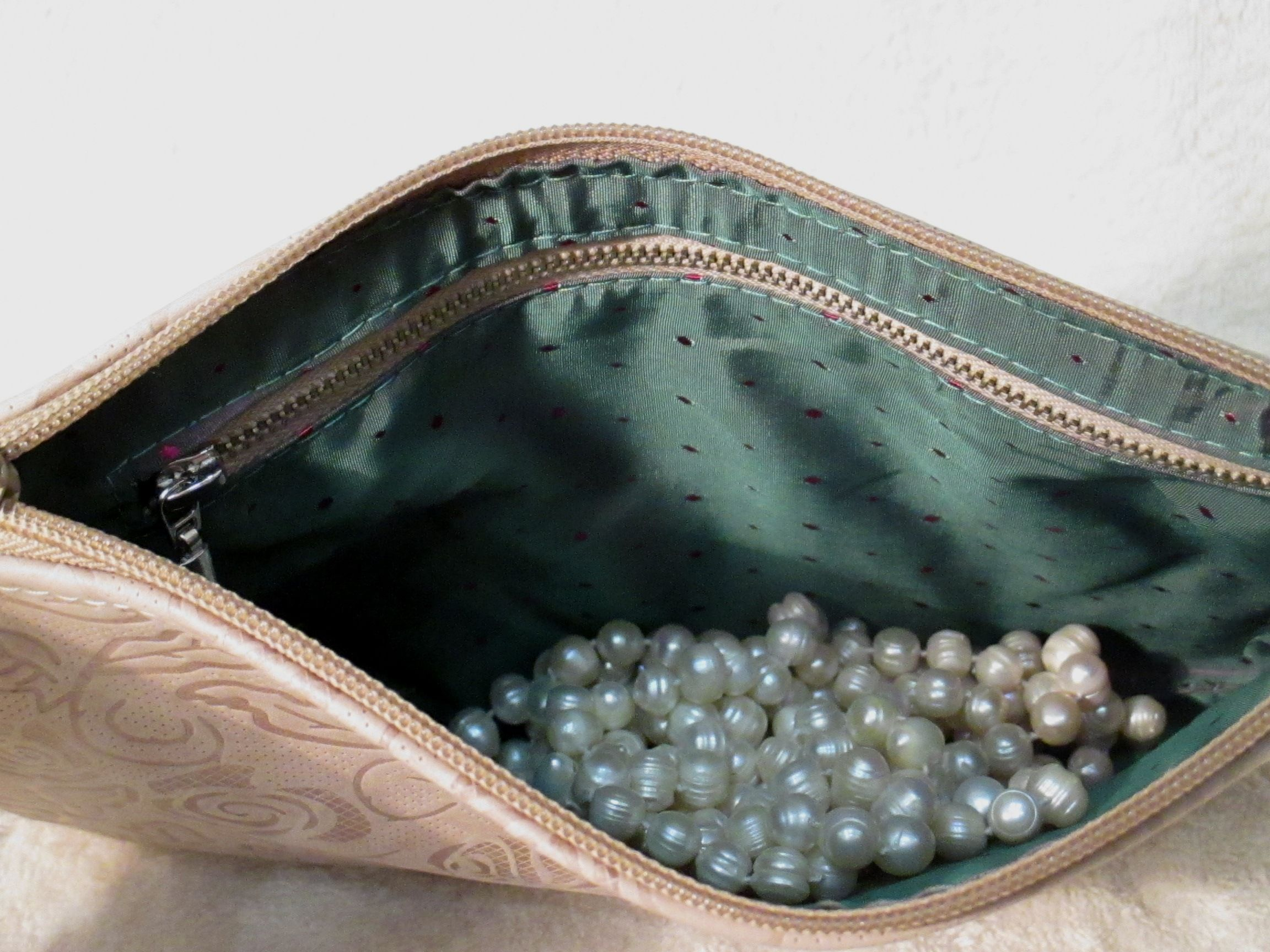 bag leather clutch accessories floral beige